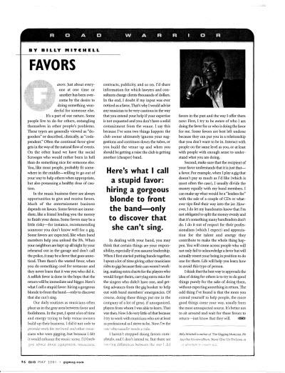 Gig Magazine - Favors