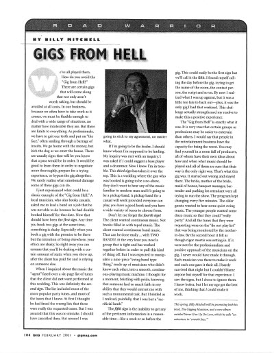 Gig Magazine -Gigs from Hell